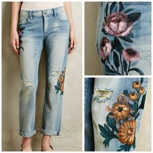 Anthro Pilcro painted Rose floral hyphen jeans 28